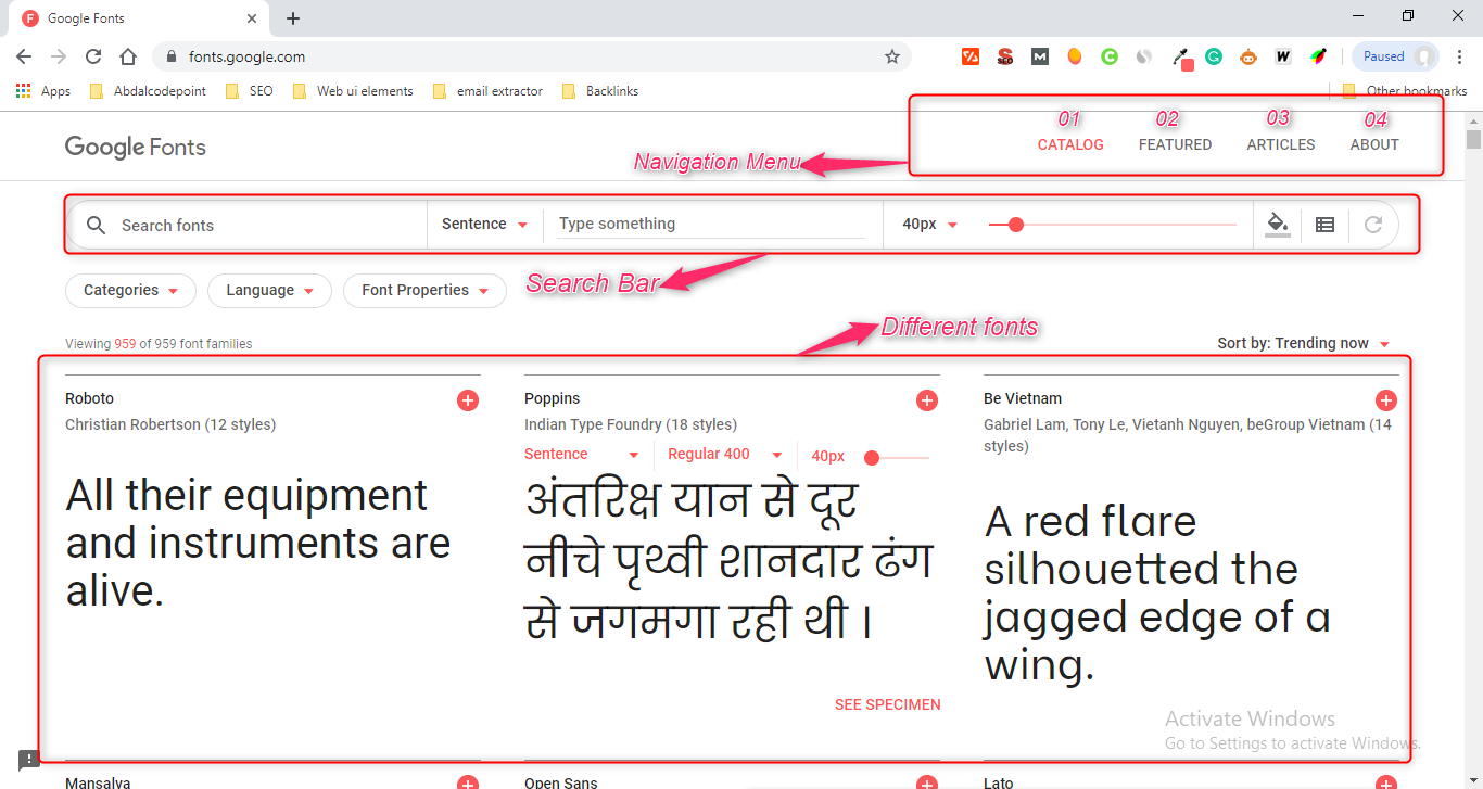 How to use Google Font in your project-website Interface