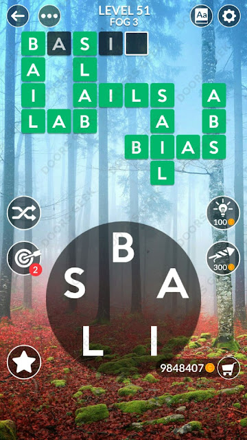 Wordscapes Level 51 answers, cheats, solution for android and ios devices.