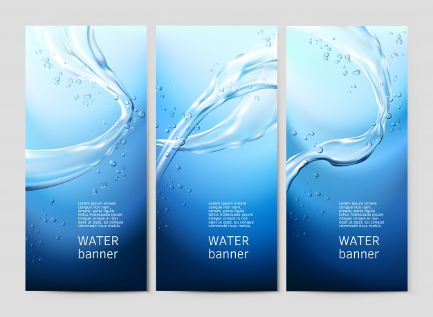 Vector blue background with flows and drops of crystal clear water Free Vector