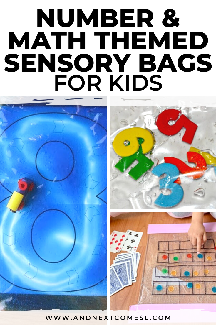 Math and number sensory bags for toddlers and preschoolers
