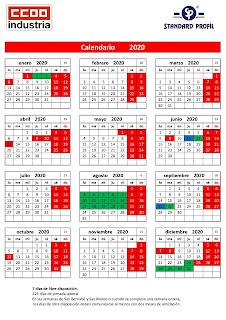 2020 Calendario Laboral.Standard Profil Ccoo Calendario Laboral 2020