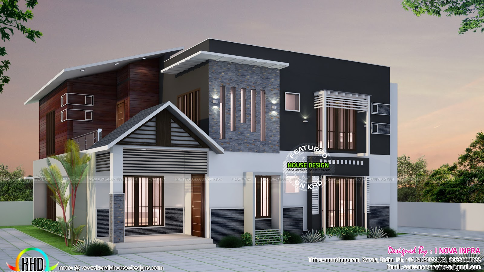 2400 sq ft modern home at kollam kerala home design and for Modern house plans 2400 sq ft