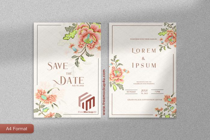 Elegant Wedding Invitation With Beige Flower