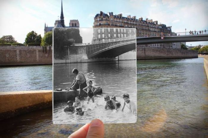 Walk on the streets of Paris with retro shots