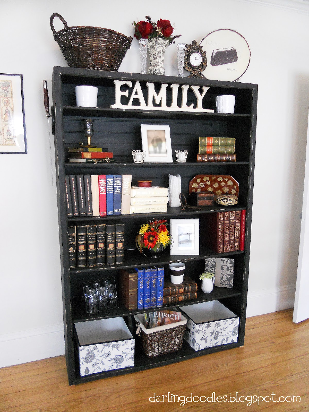 How To Decorate A Bookcase showcase the bookcase & other tips - darling doodles