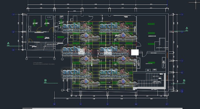 Horizontal projections of the project Banking Agency dwg