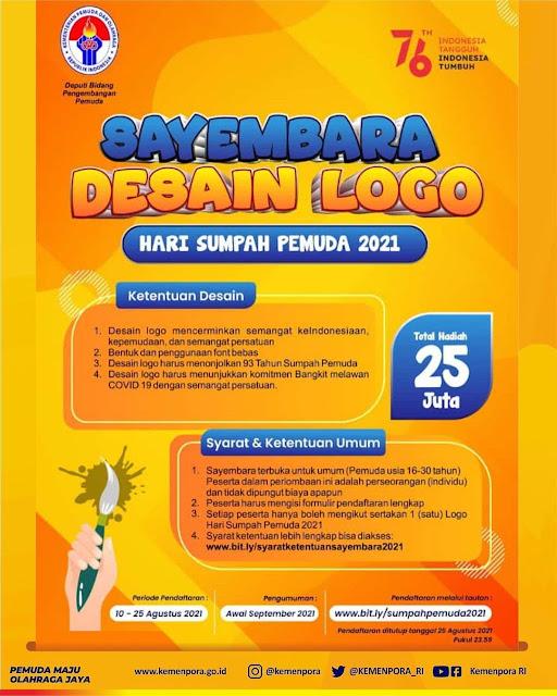 Lomba Logo Hari Sumpah Pemuda Berhadiah Total 25 Juta Rupiah oleh Kemenpora RI