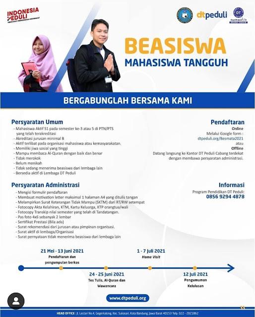 PROGRAM BEASISWA MAHASISWA TANGGUH (BESMATA) DT PEDULI 2021