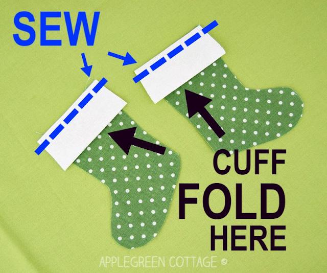 sewing mini Christmas stocking