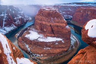 Cramer Imaging's fine art landscape photograph of the Horseshoe Bend in winter at Glen Canyon National Recreation Area, Arizona