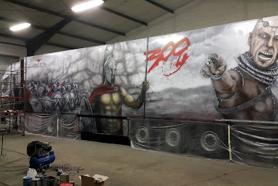 Malowanie całego tira w motyw z filmu 300, areograf, airbrush truck, areografia samochodowa