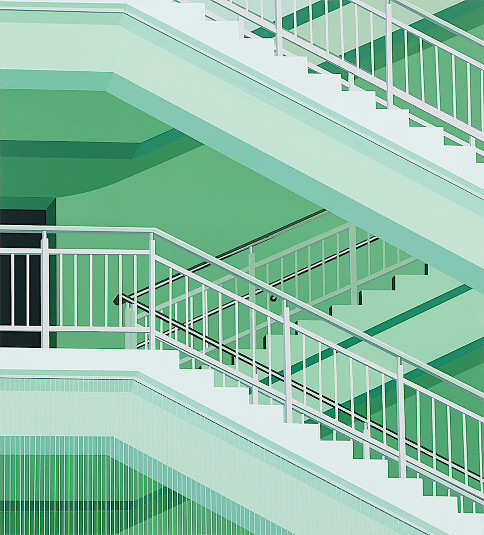 Daniel Rich digital art 2012, a green staircase