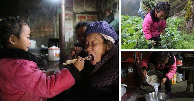 Пятилетняя девочка, брошенная матерью, стала единственным опекуном своих пожилых больных родственников