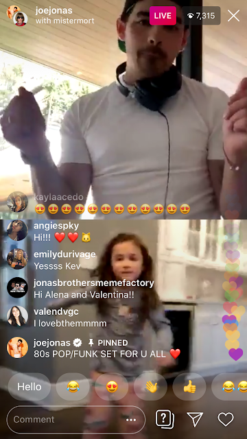 Joe Jonas Instagram Live