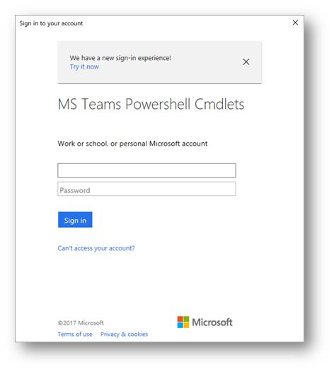 Remote PowerShell Login to Microsoft Teams