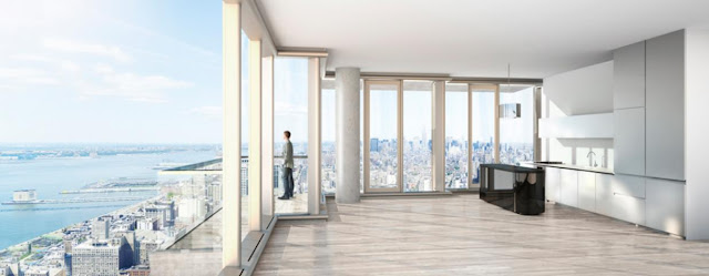Rendering of 56 Leonard Street by Herzog & De Meuron apartment with high ceilings and incredible views