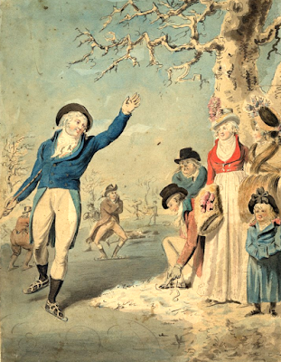 Winter, figures skating (1790-1811)  Drawn by Isaac Cruikshank  © British Museum no. 1931,1114.105