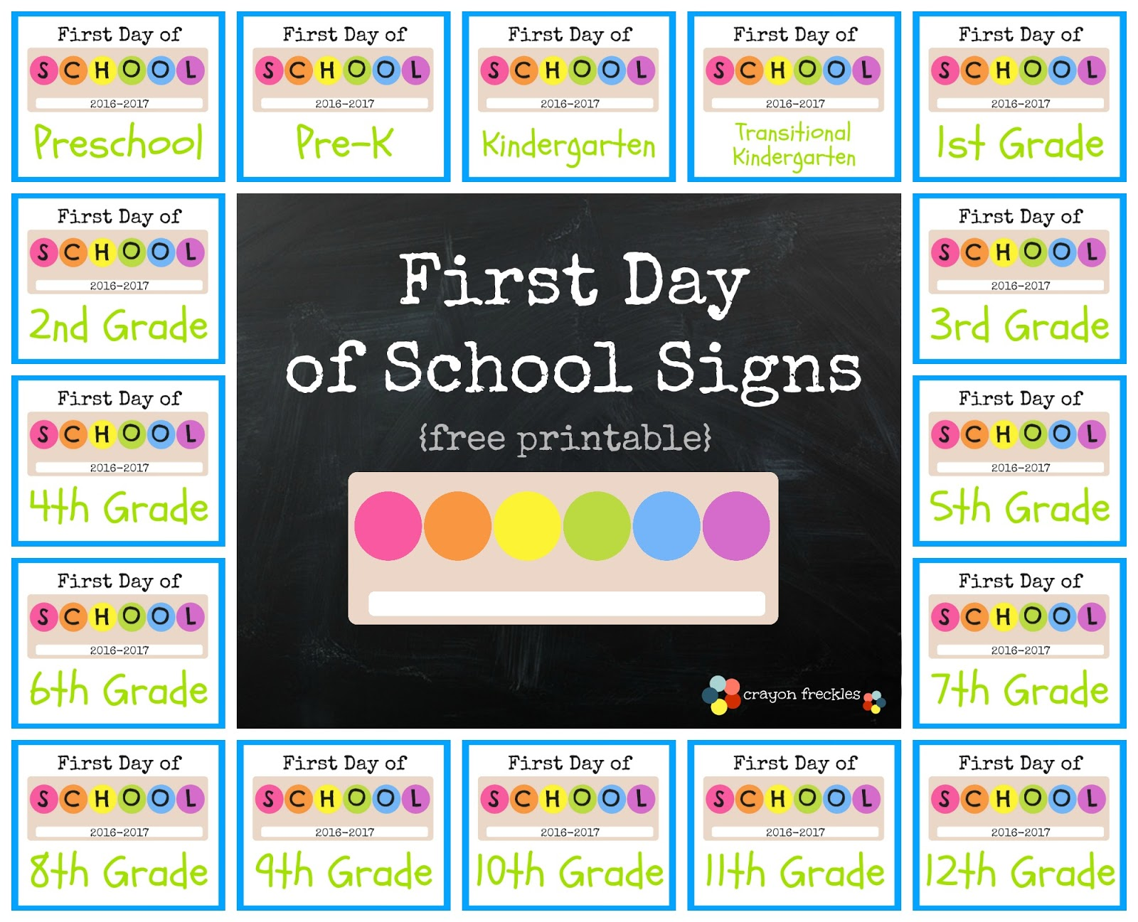 graphic regarding Printable First Day of School Signs referred to as Crayon Freckles: Initially Working day of Higher education Symptoms free of charge printable