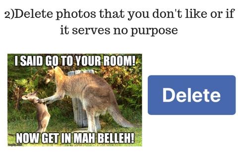 2)delete photos