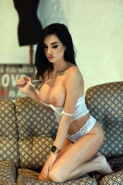 Ann Denise White Lingerie bent down gorgeous naked boobs