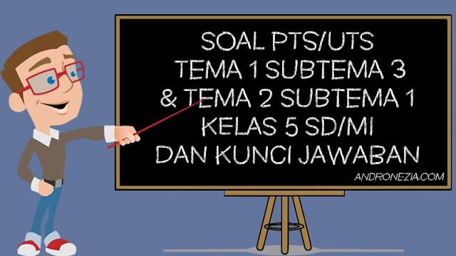 Soal PTS/UTS Kelas 5 Tema 1 Subtema 3 & Tema 2 Subtema 1 Semester 1