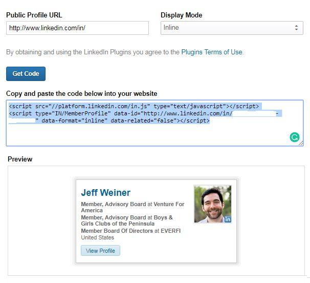 Add Your LinkedIn Profile in Blogger