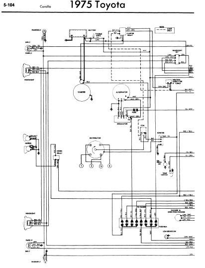 repairmanuals: Toyota Corolla 1975 Wiring Diagrams