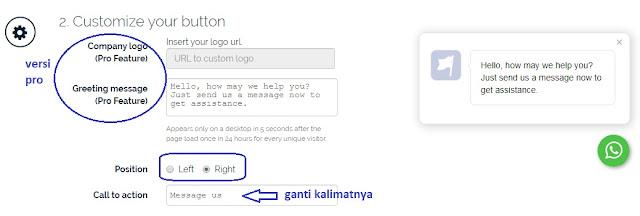 pilih posisi widget whatsapp