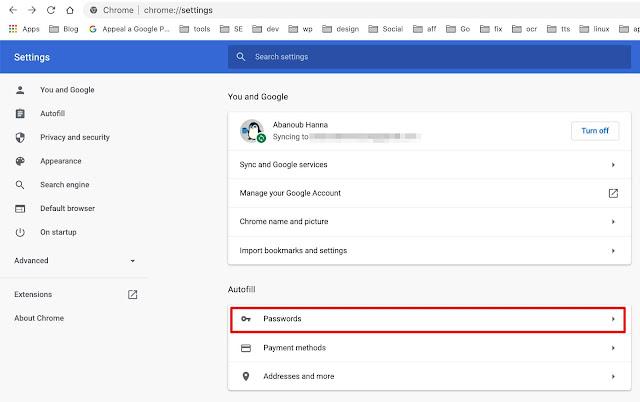 عرض كلمات المرور على متصفح جوجل كروم على ماك أو لينكس او ويندوز