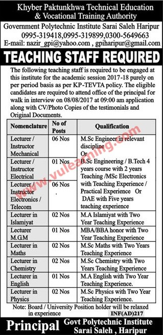 advertisement of kpk technical education vocational training authority jobs 2017 for instructors lecturers