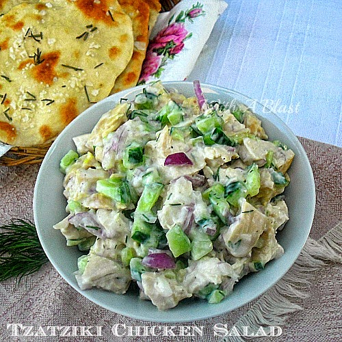 Tzatziki Chicken Salad ~ Alltime favorite low-fat Chicken Salad made quickly and easily #Salad #ChickenSalad