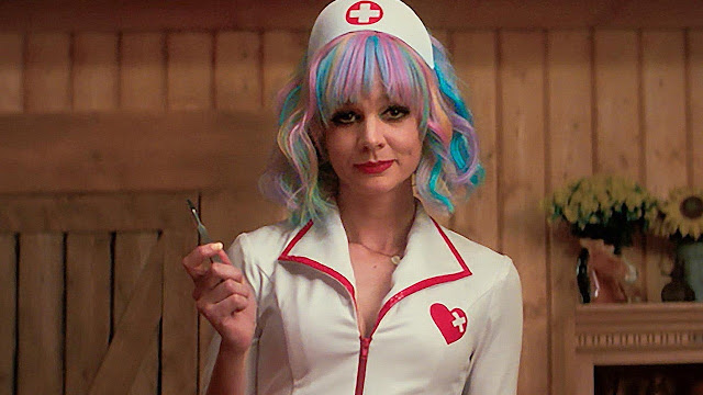 Cassandra in a playboy type nurse uniform