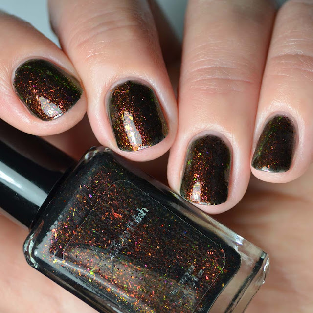 rainbow color shifting nail polish four finger swatch