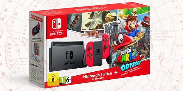 Se anuncia pack de Nintendo Switch con Super Mario Odyssey con joy-con rojo