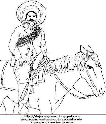 Dibujo de Pancho Villa con su caballo para colorear pintar imprimir recortar y pegar. Dibujo de Pancho Villa de Jesus Gómez