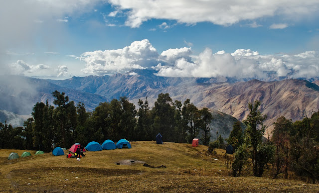 The other camps seen from Nag Tibba base camp.