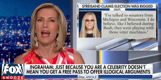 "Screen grab from Fox News ""Ingraham Angle"" and Barbra Streisand Quote about voter machines."