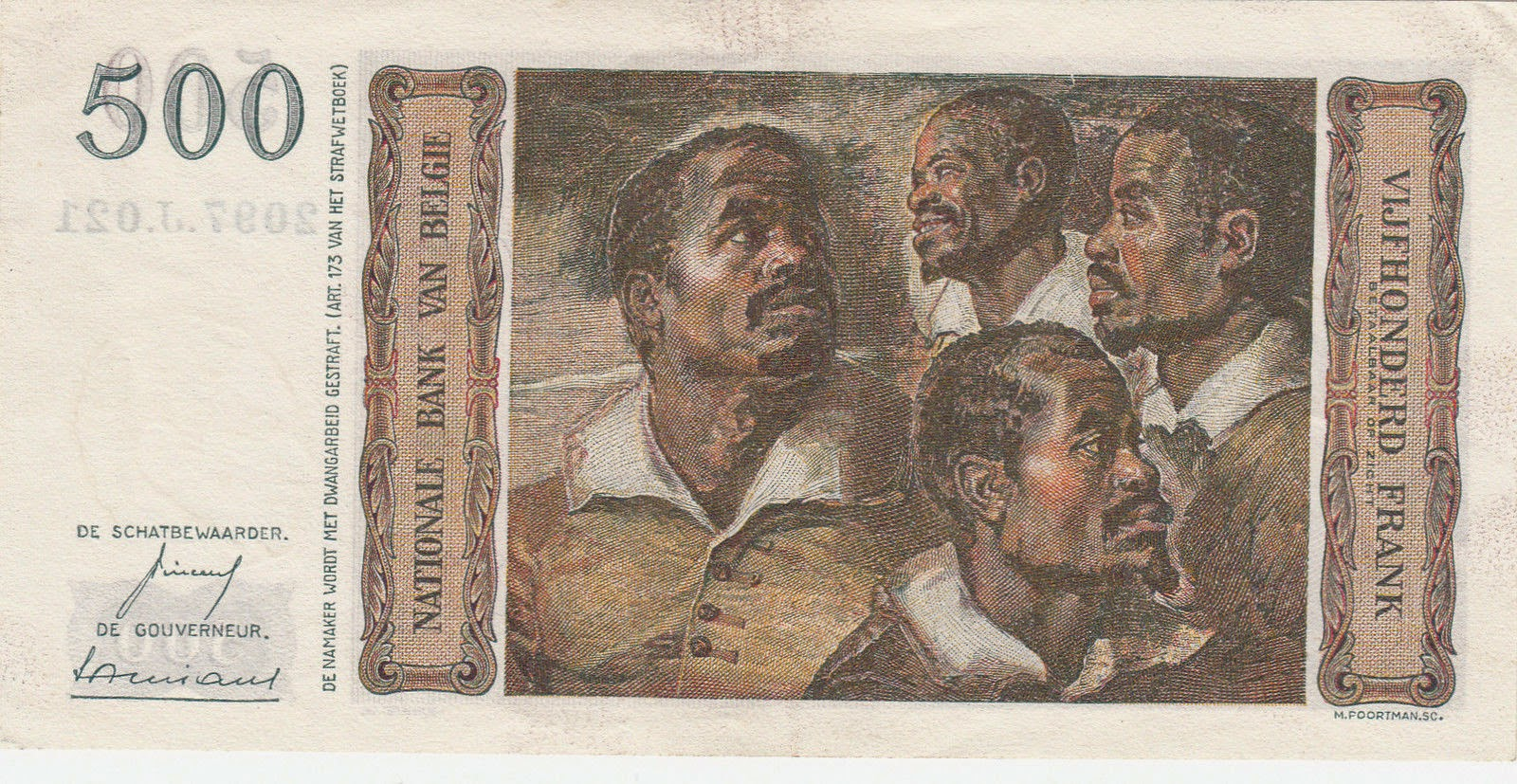 "Belgian banknotes 500 Francs banknote 1957 ""Four Studies of the Head of a Negro"" painter Peter Paul Rubens"