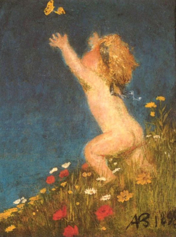 Arnold Böcklin (1827-1901) - Putto and Butterfly