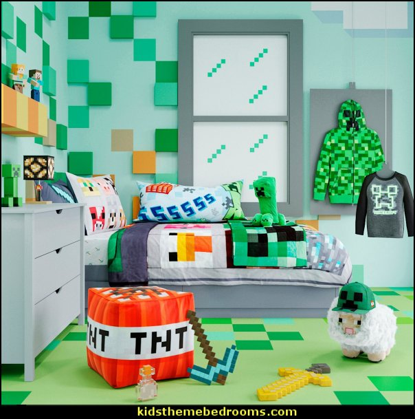 Minecraft bedroom collection   Gamer bedroom - Video game room decor - gamer bedroom furniture - gamer wall decal stickers - Super Mario Brothers Wall Stickers - gamer bedding - Super Mario Brothers bedding - Pacman decor -  Retro Arcade bedrooms - 80s video gamers - gamer throw pllows - minecraft bedroom ideas - minecraft bedroom decor