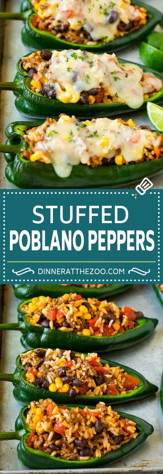 This recipe for stuffed poblano peppers is tender pasilla chiles filled with a mixture of ground beef, rice, black beans and vegetables, then topped with cheese and baked. A hearty Mexican style meal that's sure to get rave reviews!