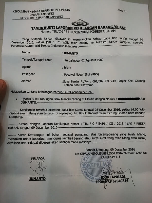 surat keterangan kehilangan kepolisan