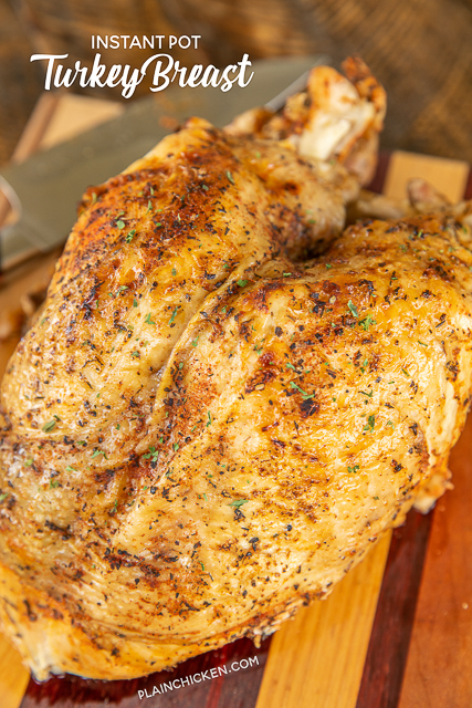 Instant Pot Turkey Breast - the most tender and juicy turkey ever!!! Brine the turkey in a mixture of salt, paprika, garlic, brown sugar, thyme, pepper, onion powder, basil and a little cayenne then cook in the Instant Pot. Ready to eat in about an hour! SO easy and SOOO delicious!!! Stress-free Thanksgiving and Christmas meal!! #turkey #instantpot #thanksgiving #christmas