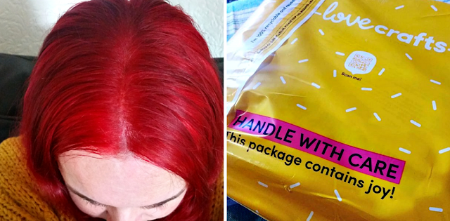 My new red hair and a yellow parcel from a craft company