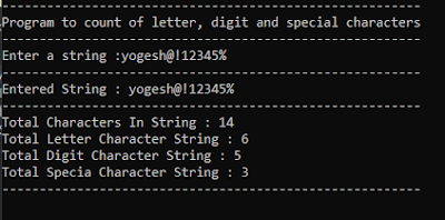 Count total letters, digits and special characters from string - YogeshHadiya.in