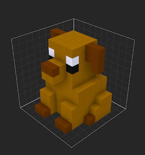 Voxel dog model created inside of the MagicaVoxel Editor