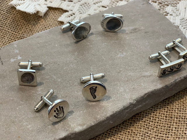 Finger, hand and footprint cufflinks by Itsy Bitsy Imprints