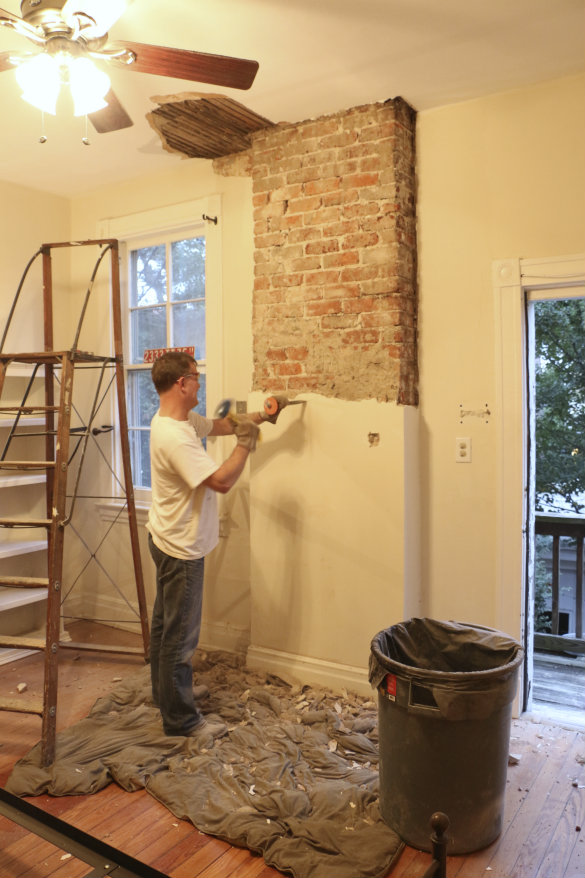 attic paint ideas - 17 Apart Before & After Exposing a Brick Chimney Under