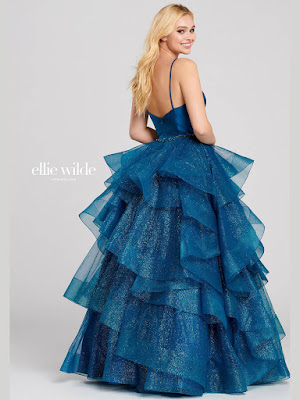Ellie Wilde Tiered Ball Gown Navy blue prom dress back side