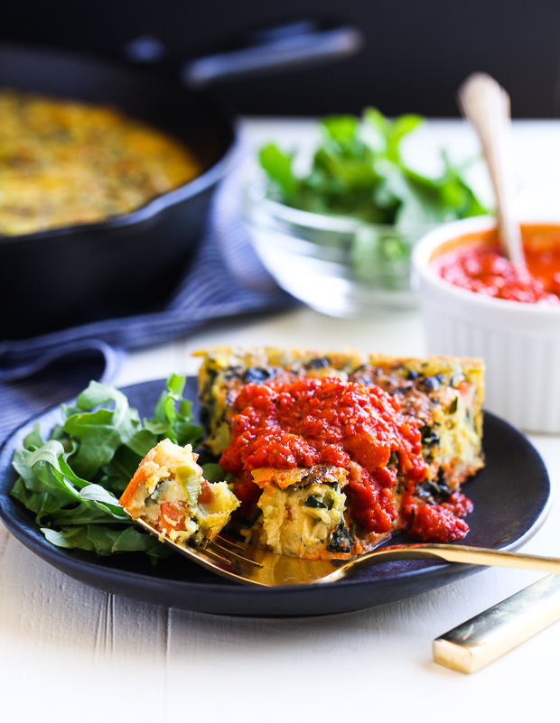 Chickpea Frittata with Roasted purple Pepper Sauce